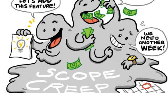 cartoon of scope creep - extra time extra money